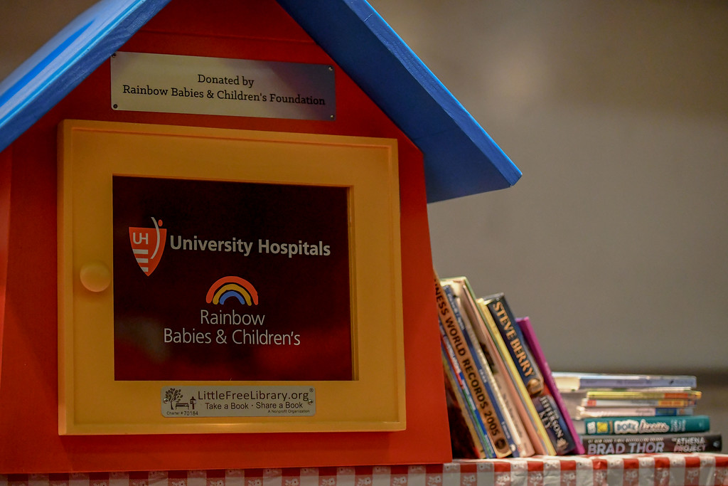 . Eric Bonzar�The Morning Journal<br> Rainbow Babies & Children\'s Foundation and McKinley Elementary School students unveiled the Little Free Library at UH Elyria Medical Center, April 10, 2018.