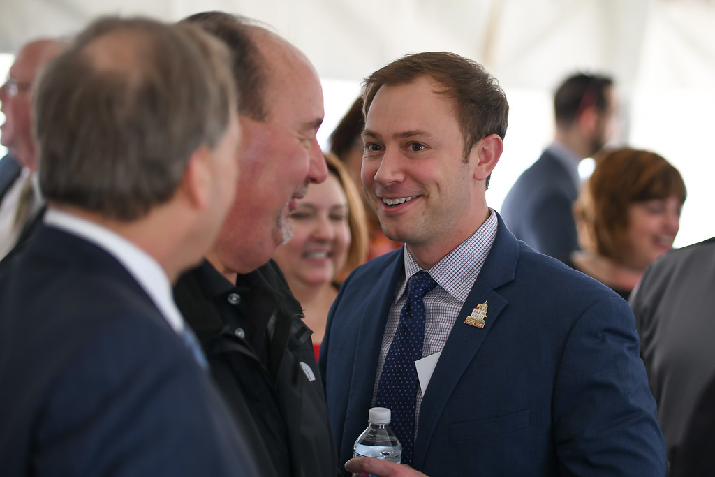 ". Eric Bonzar�The Morning Journal<br> Lorain Mayor Chase Ritenauer mingles with the crowd during the ground breaking of Mercy Health\'s new Oak Point Medical Center, April 12, 2018. Ritenauer referred to the project as an extension of Mercy\'s commitment and a ""great thing for our community,\"" noting he was \""extremely proud to be mayor today.\"""