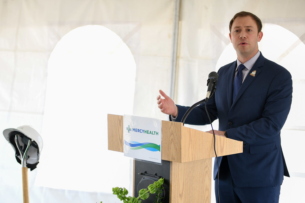 ". Eric Bonzar�The Morning Journal<br> Lorain Mayor Chase Ritenauer speaks during the ground breaking of Mercy Health\'s new Oak Point Medical Center, April 12, 2018. Ritenauer referred to the project as an extension of Mercy\'s commitment and a ""great thing for our community,\"" noting he was \""extremely proud to be mayor today.\"""