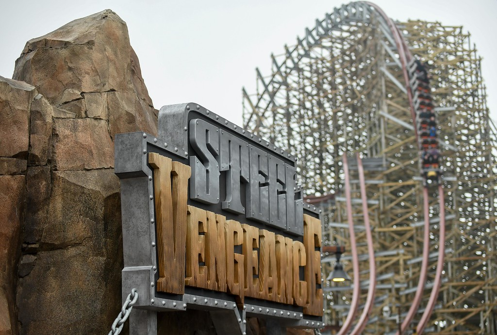 . Eric Bonzar�The Morning Journal Media members got first cracks at riding Cedar Point\'s new hyper-hybrid roller coaster Steel Vengeance, April 25, 2018. Coaster enthusiasts will get their chance to experience the world-record-breaking thrill ride when the park opens for the 2018 season, May 5.