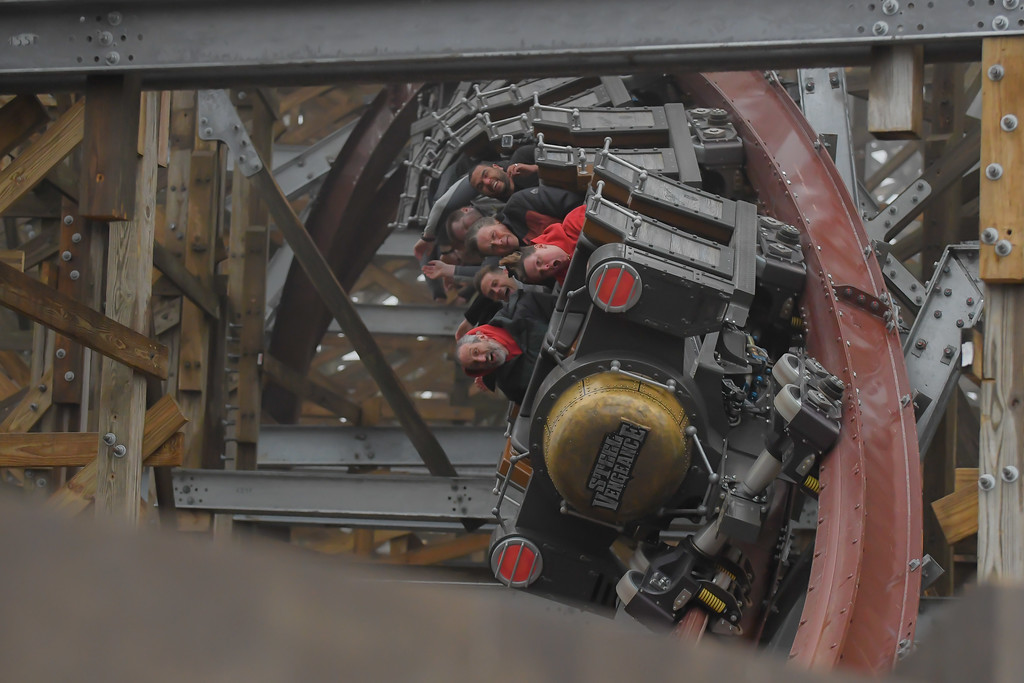 . Eric Bonzar�The Morning Journal<br> Media members got first cracks at riding Cedar Point\'s new hyper-hybrid roller coaster Steel Vengeance, April 25, 2018. The world-record-breaking thrill ride boasts four inversions during its 74 MPH trip on 5,740 feet of steel track.