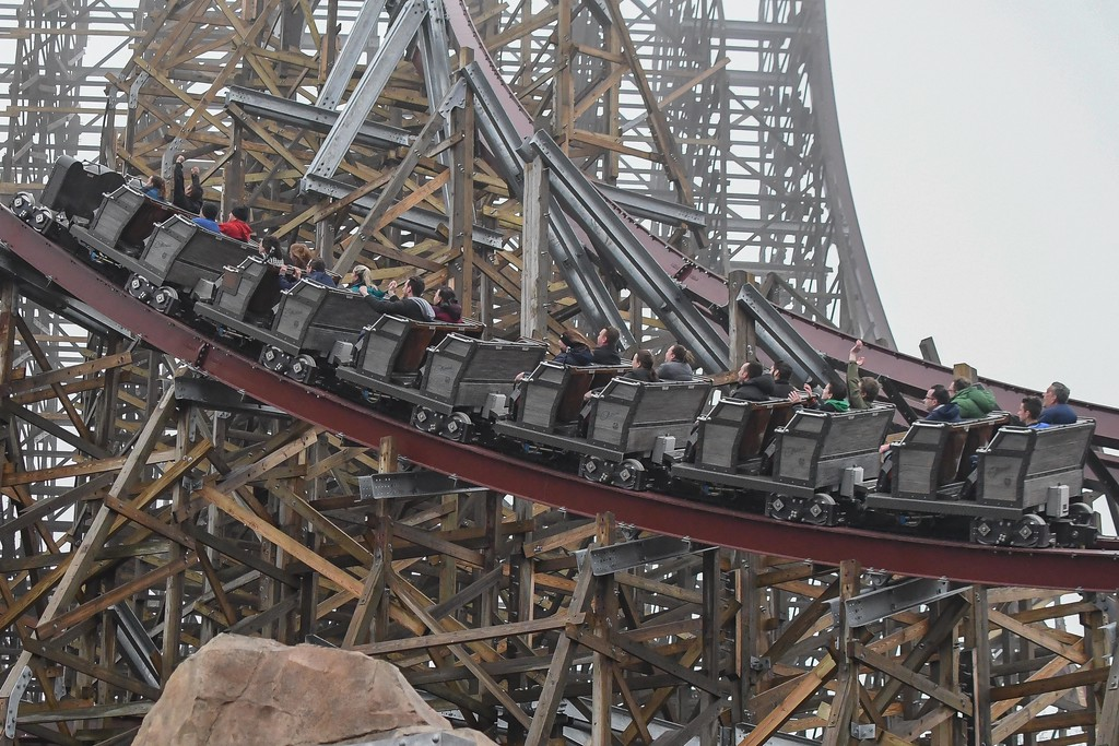 . Eric Bonzar�The Morning Journal<br> Media members got first cracks at riding Cedar Point\'s new hyper-hybrid roller coaster Steel Vengeance, April 25, 2018. Coaster enthusiasts will get their chance to experience the world-record-breaking thrill ride when the park opens for the 2018 season, May 5.
