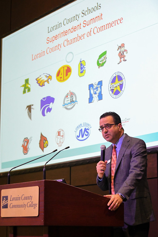 . Eric Bonzar�The Morning Journal Lorain County Chamber of Commerce President Tony Gallo welcomes guests to the fourth annual Lorain County Superintendent Summit, held at the Lorain County Community College John A. Spitzer Conference Center, May 4, 2017.