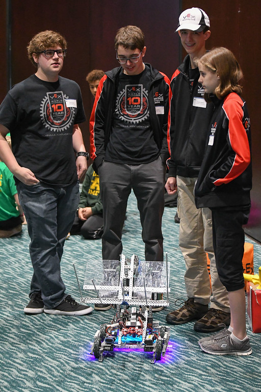 ". Eric Bonzar�The Morning Journal Members of Brookside High School\'s VEX Robotics team 6403A were on hand for demonstrations of their robot ""Bruce Wayne\"" during the fourth annual Lorain County Superintendent Summit, held at the Lorain County Community College John A. Spitzer Conference Center, May 4, 2017."
