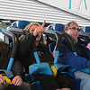 Eric Bonzar—The Morning Journal<br /> Morning Journal guest riders (from left) Michael Harmych, 35, of Lorain, Shawn Marie Stitak, 37, of Lorain, Matt Dempsey, 34, of Lorain and Jennifer Alt, 36, of Rochester N.Y., get ready to experience the Valravn at Cedar Point, May 4, 2016.