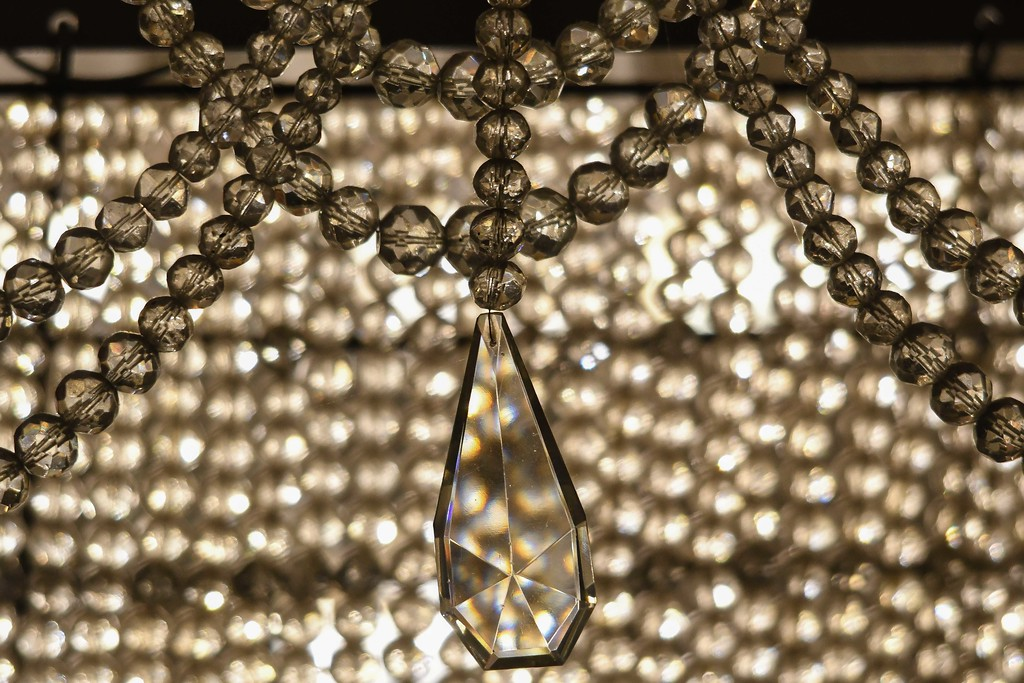 . Eric Bonzar�The Morning Journal<br> Teardrop Yugoslavian cut crystals adorn the perimeter of the Lorain Palace Theater chandelier.