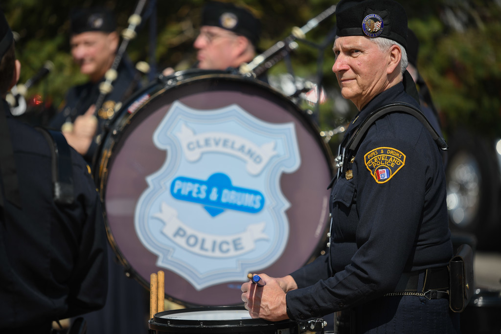 . Eric Bonzar�The Morning Journal<br> Members of the Cleveland Police Pipes and Drums perform during the Lorain County Police Memorial, held at Howk Memorial Park, in Wellington, May 10, 2018.