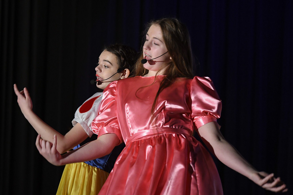 """. Eric Bonzar�The Morning Journal South Amherst Middle School students Abby Landreth, left, and Renee Clippinger portray the roles of Snow White and Goldilocks, during an afternoon performance of \""""Princess Whatsername,\"""" in the school\'s small gym, March 28, 2017."""