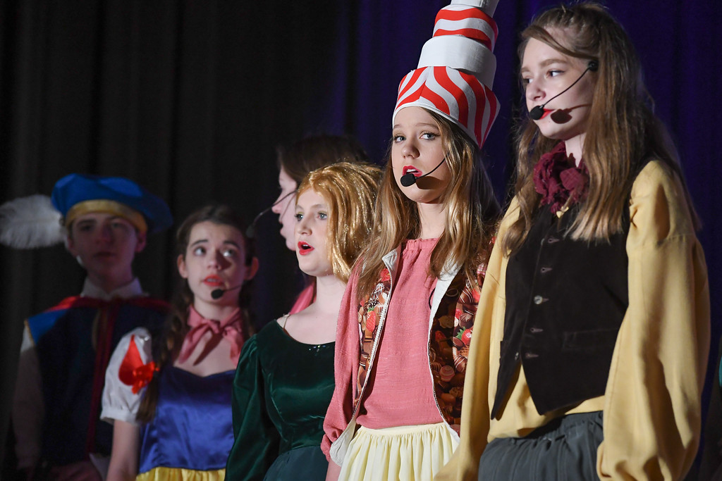 """. Eric Bonzar�The Morning Journal South Amherst Middle School students held a matinee performance of \""""Princess Whatsername,\"""" in the school\'s small gym, March 28, 2017."""