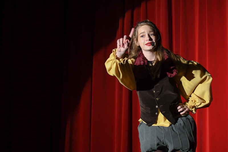 "Eric Bonzar—The Morning Journal<br /> South Amherst Middle School student Rachel Metzger portrays the role of Rumplestilskin, during an afternoon performance of ""Princess Whatsername,"" in the school's small gym, March 28, 2017."