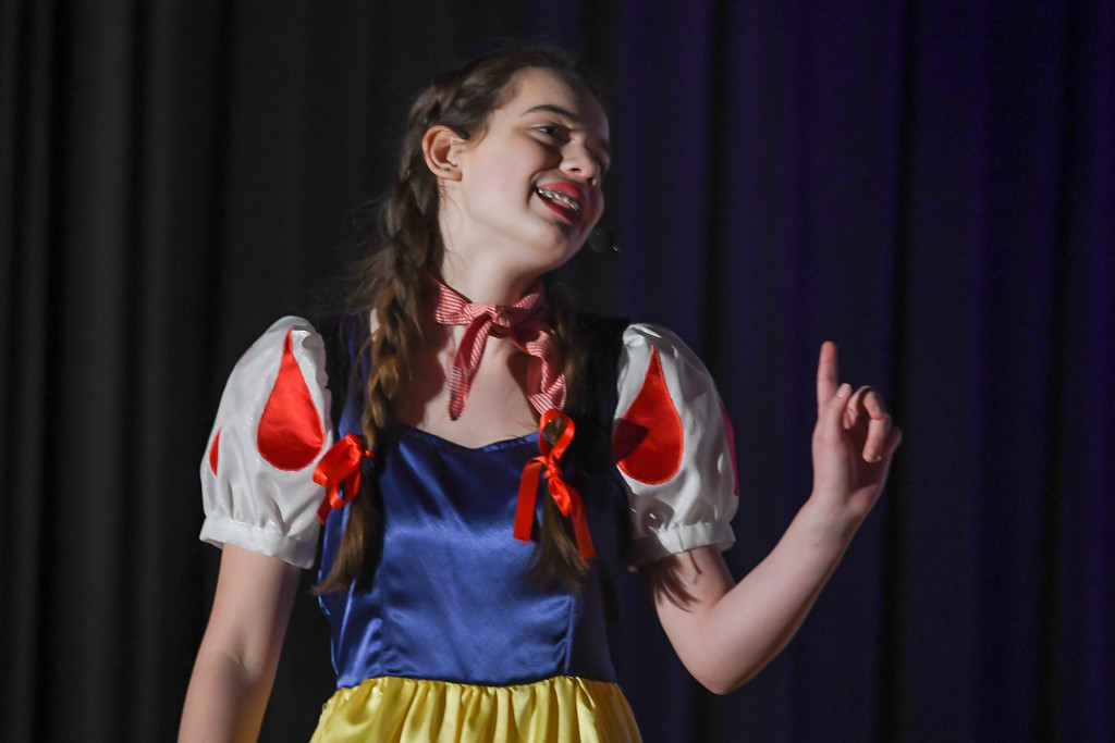""". Eric Bonzar�The Morning Journal South Amherst Middle School student Abby Landreth portrays the role of Snow White, during an afternoon performance of \""""Princess Whatsername,\"""" in the school\'s small gym, March 28, 2017."""