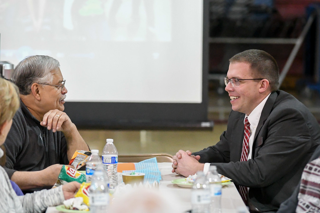 """. Eric Bonzar�The Morning Journal Firelands School District Superintendent Mike Von Gunten, right, converses with Chuck Livermore, of Kipton, during the \""""Lunch and a Show\"""" event held at South Amherst Middle School, March 28, 2017. The afternoon event provided an opportunity for students to interact with seniors within the community, by offering a luncheon and a performance of \""""Princess Whatsername\"""" by the seventh and eighth grade choirs."""