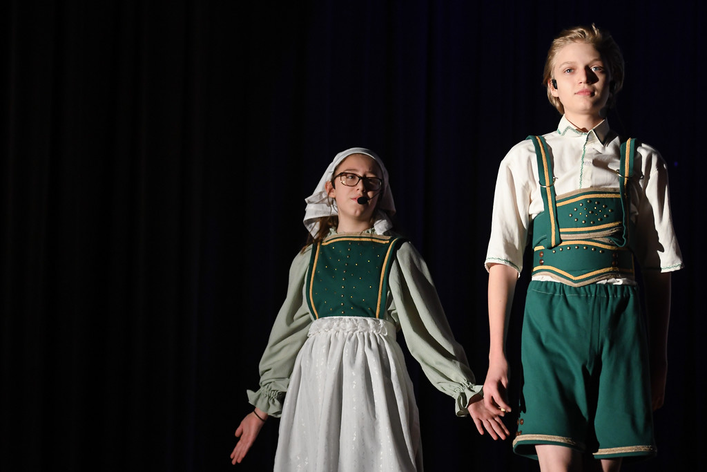 """. Eric Bonzar�The Morning Journal South Amherst Middle School students Jacob Moore and Karis Morales portray the rolls of Hansel and Gretel, during an afternoon performance of \""""Princess Whatsername,\"""" in the school\'s small gym, March 28, 2017."""
