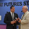 Eric Bonzar—The Morning Journal<br /> Lorain police Chief Cel Rivera, right, speaks with Tony Dimacchia, director of operations for the Oakwood Boys and Girls Club, July 12, 2016.