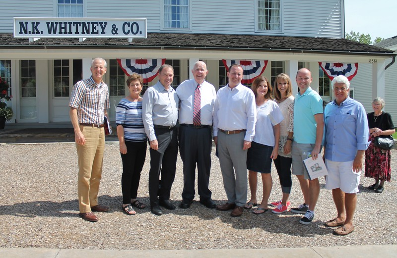 Among visitors to Historic Kirtland July 20, 2016 were Utah Senate President Wayne Niederhauser, third from left; Utah Governor Gary Herbert, fifth from left; US Senator Utah Mike Lee, eighth from left ;  Utah Lieutenant Governor Spencer Cox, ninth from left; and US Congressman District 1 Northern Utah Rob Bishop. {Kristi Garabrandt-The News-Herald}