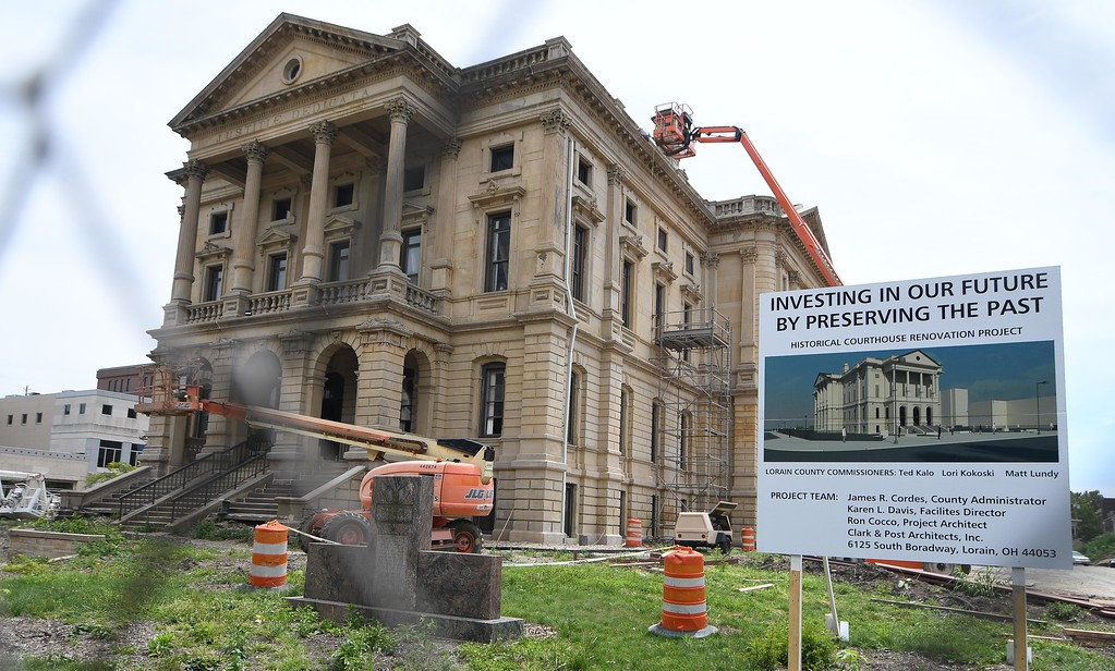. Eric Bonzar�The Morning Journal Lorain County commissioners were given a look into the progress of the Lorain County Courthouse renovation project, July 26, 2017.