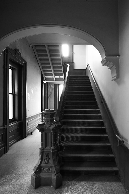. Eric Bonzar�The Morning Journal The original staircase, leading to the second floor, will remain intact, Project architect Ron Cocco said.