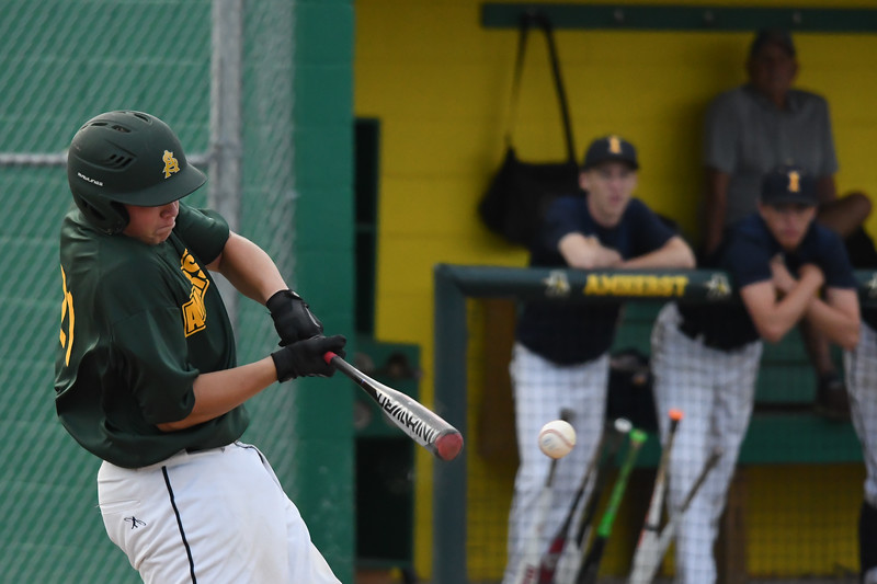 Eric Bonzar—The Morning Journal<br /> Amherst's Eric Ritter ropes a single, July 28, 2017.