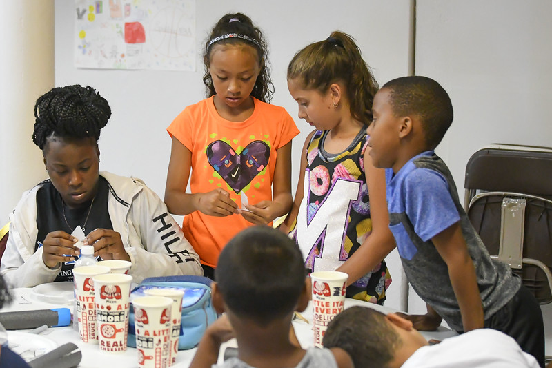 "Eric Bonzar—The Morning Journal<br /> Children make their own rockets during PACE Foundations' ""Summer of Innovation"" summer camp, Aug. 31, 2017. Rocketry was the theme of the week, Michael Ferrer, vice president of youth development programs for the Lorain PACE Foundation, said."