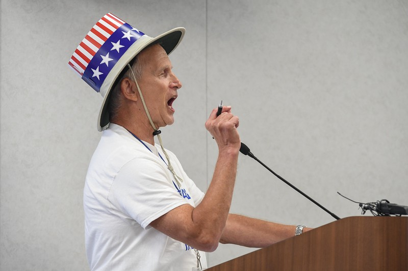 Eric Bonzar—The Morning Journal<br /> Gerald W. Phillips, of Avon Lake, addresses the Lorain County Commissioners, Aug. 9, 2017. During the meeting, Phillips called for the repeal of the county-wide sales tax increase and stated he and the Repeal the Sales Tax Committee will now look in to having Lorain County Auditor Craig Snodgrass and Commissioner Lori Kokoski removed from their positions, as well as go out and get county reform with a new charter petition.