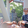"""Eric Bonzar—The Morning Journal<br /> A young coaster rider seeks higher ground to experience the announcement of Cedar Point's new hyper-hybrid coaster """"Steel Vengeance,"""" during the amusement park's Frontier Town Hootenanny! event, Aug. 16, 2017."""