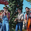 """Eric Bonzar—The Morning Journal<br /> The Bluegrass Jamboree Band warms up the crowd during Cedar Point's Frontier Town Hootenanny! event, Aug. 16, 2017. The amusement park celebrated National Roller Coaster Day by announcing its new, hyper-hybrid coaster """"Steel Vengeance."""""""
