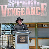 """Eric Bonzar—The Morning Journal<br /> Jason McClure, Cedar Point vice president and general manager, announces Cedar Point's new hyper-hybrid coaster """"Steel Vengeance,"""" during the amusement park's Frontier Town Hootenanny! event, Aug. 16, 2017. The coaster is slated to open for the 2018 season, and will use the former Mean Streak's existing wooden frame while integrating a steel track into the record-breaking thrill ride."""