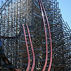 """Eric Bonzar—The Morning Journal<br /> Cedar Point's new, hyper-hybrid coaster """"Steel Vengeance"""" is slated to open for the 2018 season. The coaster will use the former Mean Streak's existing wooden frame while integrating a steel track into the record-breaking thrill ride."""