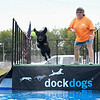 "Eric Bonzar—The Morning Journal<br /> Diane Jones, of Lorain, and her black Labrador ""Jeeter""  take a practice jump Aug. 26, 2016."