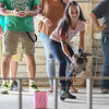 """Eric Bonzar—The Morning Journal<br /> Nicole Maitino, 12, of LaGrange, and her 4-year-old Rouen duck """"Jelly Bean"""" compete in the fowl race at the Lorain County Fair, Aug. 26, 2016."""