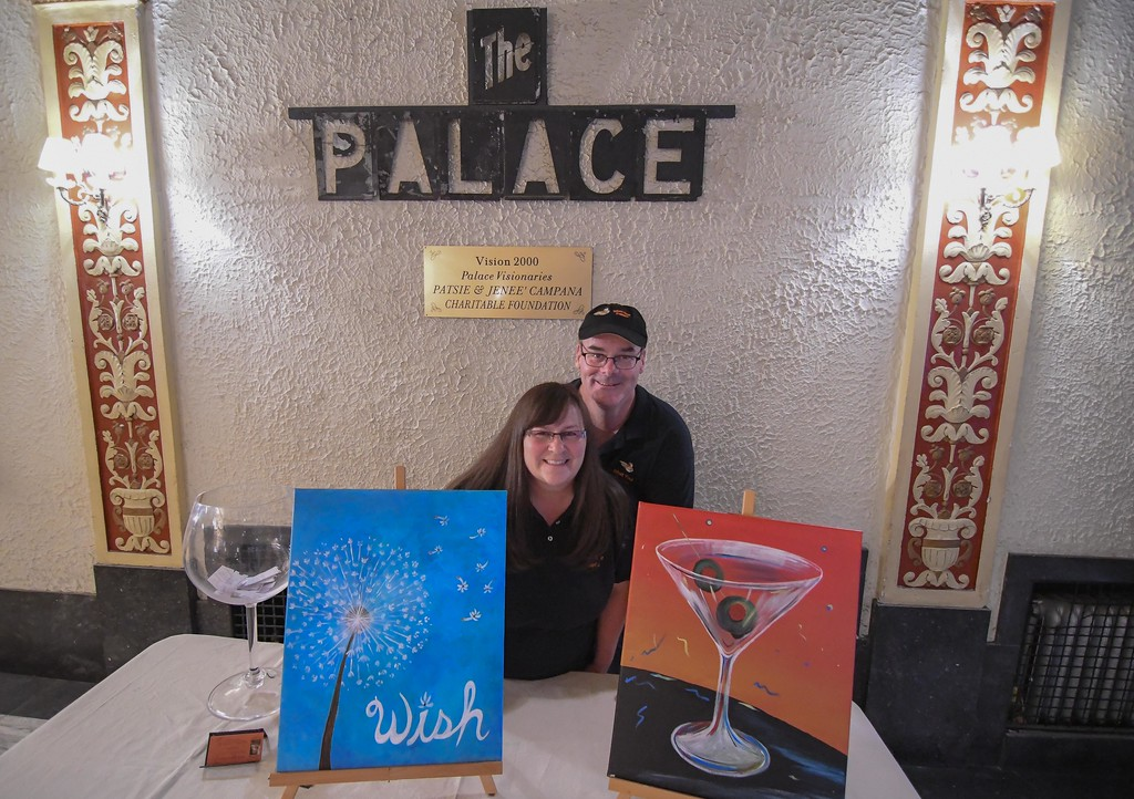 . Eric Bonzar�The Morning Journal Whet Your Palette owners Bobbi and Jim White brought their paint night to the Lorain Palace Theater where they celebrated the 100th anniversary of the Lorain Lighthouse with wine and painting, Aug. 24, 2017.