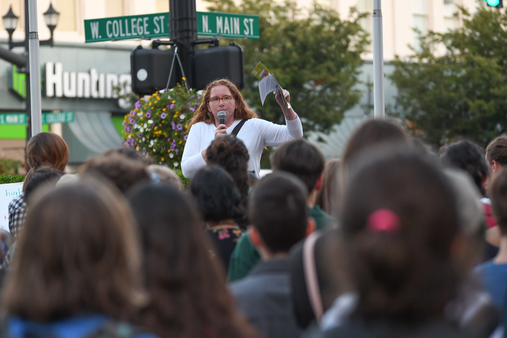 . Eric Bonzar�The Morning Journal Organizer Lili Sandler speaks to a large crowd gathered on Oberlin\'s Tappan Square to protest President Donald Trump\'s recension of former President Barack Obama\'s Deferred Action for Childhood Arrivals (DACA) program, Sept. 5, 2017.