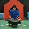 Eric Bonzar—The Morning Journal<br /> Matt Tomecko, 34, of North Olmsted plays the part of Schroeder during a Workshop Players Theater rehearsal of  You're a Good Man, Charlie Brown, Sept. 12, 2017.