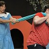 Eric Bonzar—The Morning Journal<br /> Matt Cuffari, 31, of Lorain and Alicia Fogal, 45, of Rocky River rehearse a scene from You're a Good Man, Charlie Brown, at Amherst's Workshop Players Theater, Sept. 12, 2017. Cuffari and Fogal will play the parts of Linus and Lucy for performances during the theater's 70th season.