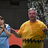 Eric Bonzar—The Morning Journal<br /> Performers for Amherst's Workshop Players Theater rehearse a scene from You're a Good Man, Charlie Brown, Sept. 12, 2017. Pictured, from left, are: Alicia Fogal, 45, of Rocky River as Lucy and Kevin Cline, 43, of North Ridgeville as Charlie Brown.