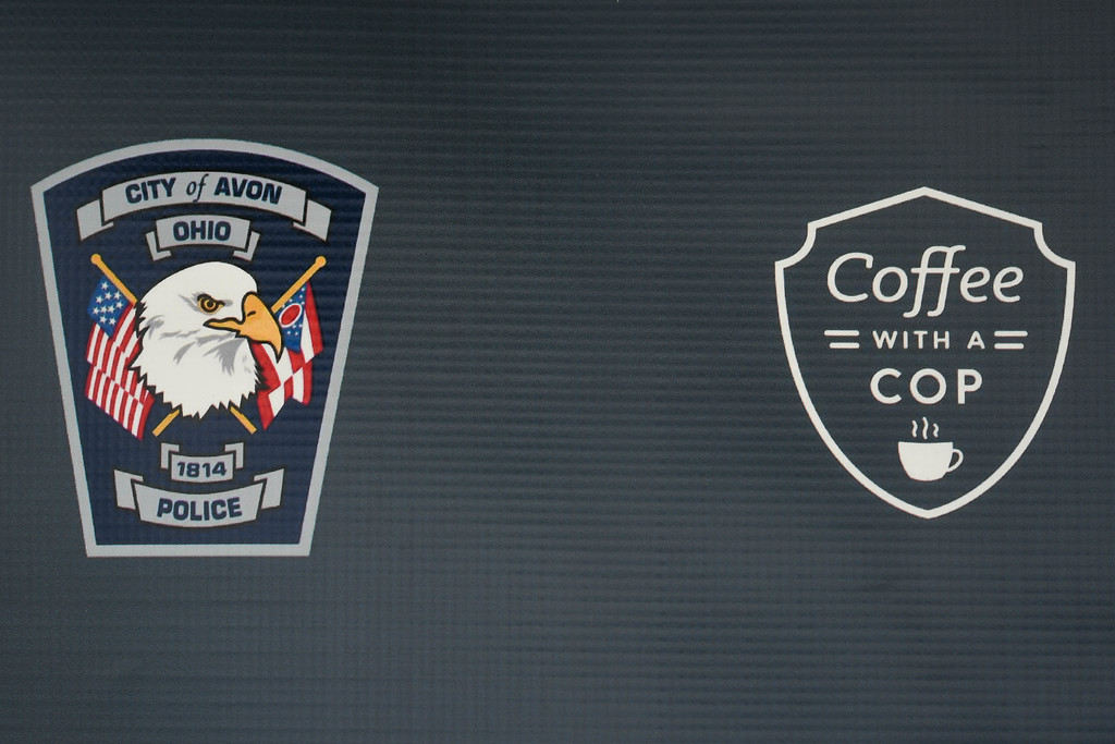 . Eric Bonzar�The Morning Journal<br> The Avon Police Department held its Coffee With a Cop gathering at Barry Bagels, 2100 Center Road, Oct. 4, 2017. The program looks to break barriers between law enforcement officers and the community they serve, by opening dialogue between the two, in a casual setting.