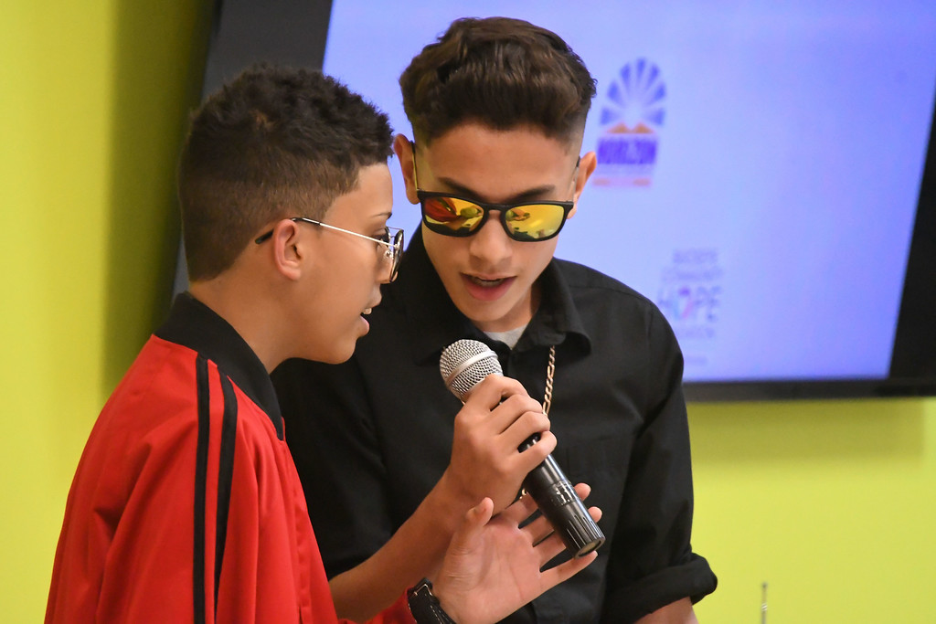 ". Eric Bonzar�The Morning Journal<br> Delson Torres-Castro, left, and Jacob Vargas perform Luis Fonsi\'s ""Despacito\"" during Horizon Science Academy of Lorain\'s Hispanic Celebration Dinner, Oct. 12, 2017."
