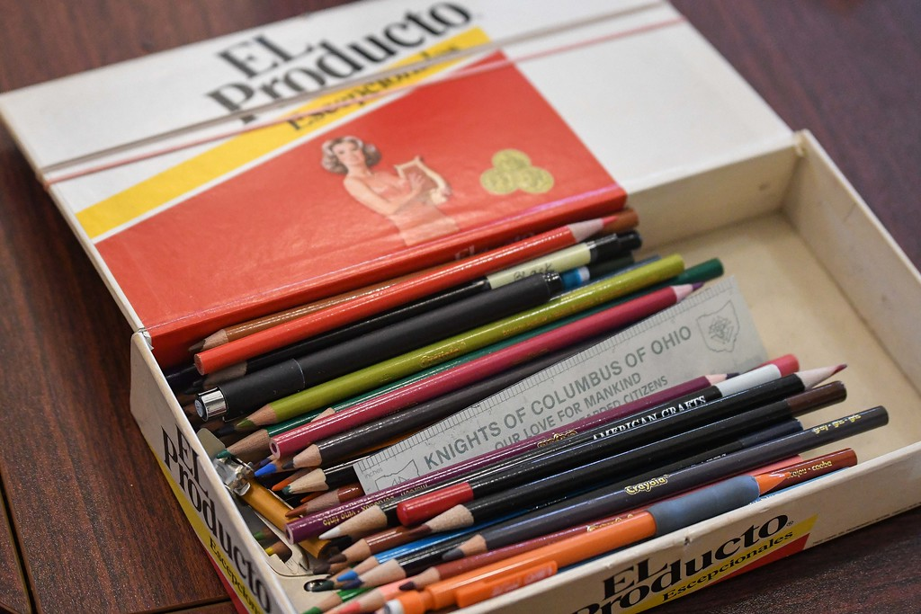 . Eric Bonzar�The Morning Journal<br> An old cigar box has found a new use as an artists\' supplies holder. Lorain County Metro Parks\' Miller Nature Preserve hosted a two-hour drawing class, instructed by artist Clela Neale, Oct. 23, 2017.
