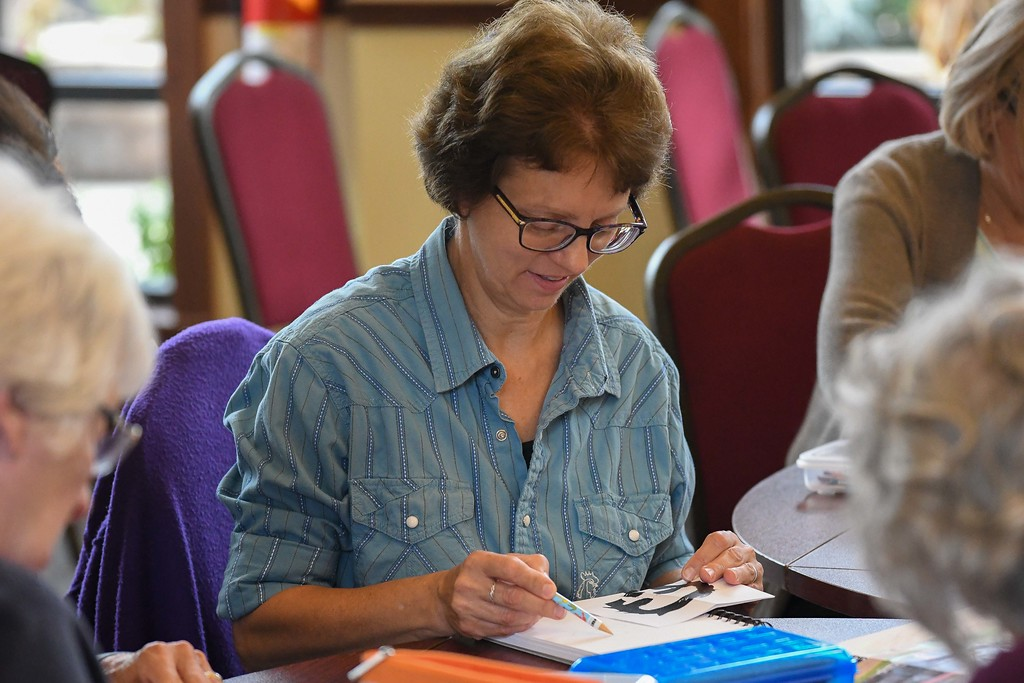. Eric Bonzar�The Morning Journal<br> Karen Edwards, of North Ridgeville, works on her drawing technique during the Lorain County Metro Parks Miller Nature Preserve\'s drawing class, instructed by artist Clela Neale, Oct. 23, 2017.