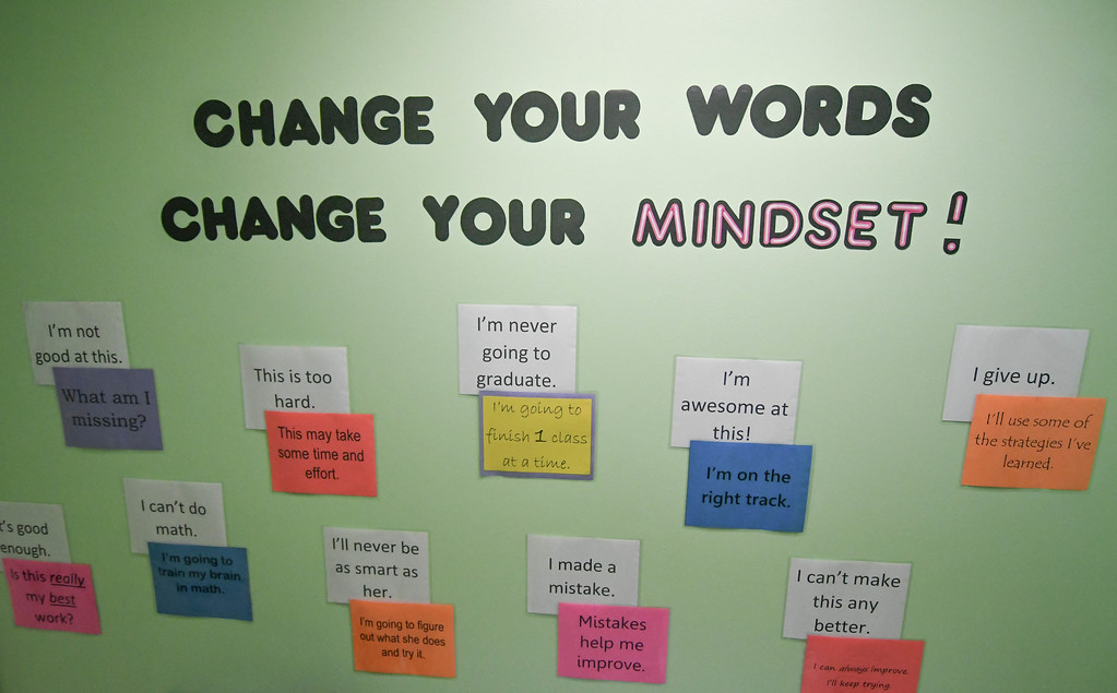 ". Eric Bonzar�The Morning Journal<br> Reminders to ""Change your Mindset\"" are sprawled along the walls of Life Skills High School, 2015 W. River Road North, Elyria, Oct. 24, 2017."