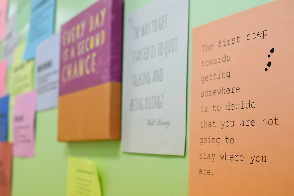 . Eric Bonzar�The Morning Journal<br> Inspirational quotes can be found in along the hallways of Life Skills High School, 2015 W. River Road North, Elyria, Oct. 24, 2017.