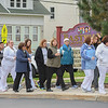 Eric Bonzar—The Morning Journal<br /> Employees from Cleveland Clinic's Avon Hospital participate in Eastview Elementary School's Walk on Wednesdays (WOW) initiative, Oct. 26, 2016.