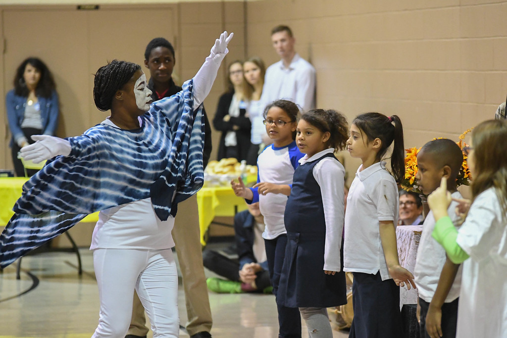 ". Eric Bonzar�The Morning Journal<br> Salvation Army Learning Zone teacher Machel Donald and her students perform the musical drama ""Does Anybody Hear Her,\"" during the Salvation Army of Lorain\'s Thanksgiving dinner, Nov. 21, 2017."