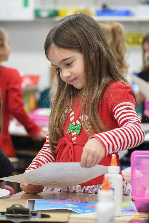 . Eric Bonzar�The Morning Journal<br> Five-year-old kindergartner Callie Beam decorates her Brazilian Christmas tree, during class, at Wellington\'s Westwood Elementary School, Dec. 4, 2017.