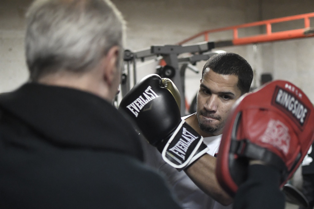 . Eric Bonzar�The Morning Journal<br> Amature pugilist Juan Rodriguez, of Lorain, works out with trainer Dan McDowell at United Boxing Club, in Lorain, Dec. 6, 2017.