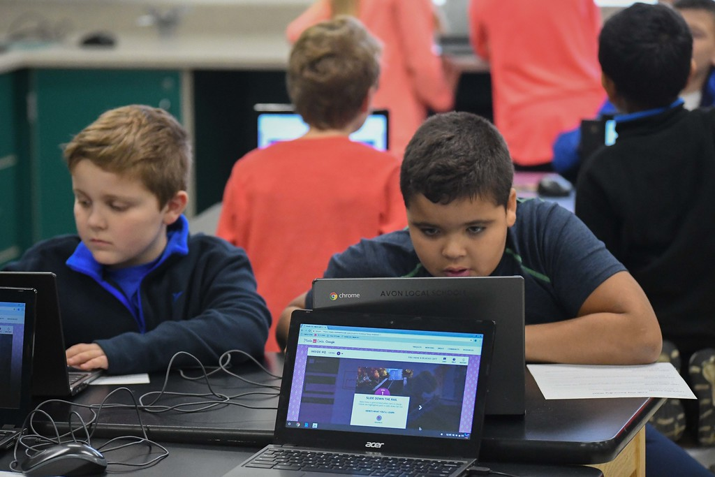 . Eric Bonzar�The Morning Journal<br> Fourth-grade students at Avon Heritage Elementary School continued to celebrate computer science by participating in an Hour of Code, Dec. 12, 2017. The program, held in conjunction with Computer Science Education Week , held Dec. 4-10, continued through the week of Dec. 11-15, in order to facilitate and provide the experience to all the fourth grade classes, throughout the district, Technology Integration Specialist Sara Armagno said.