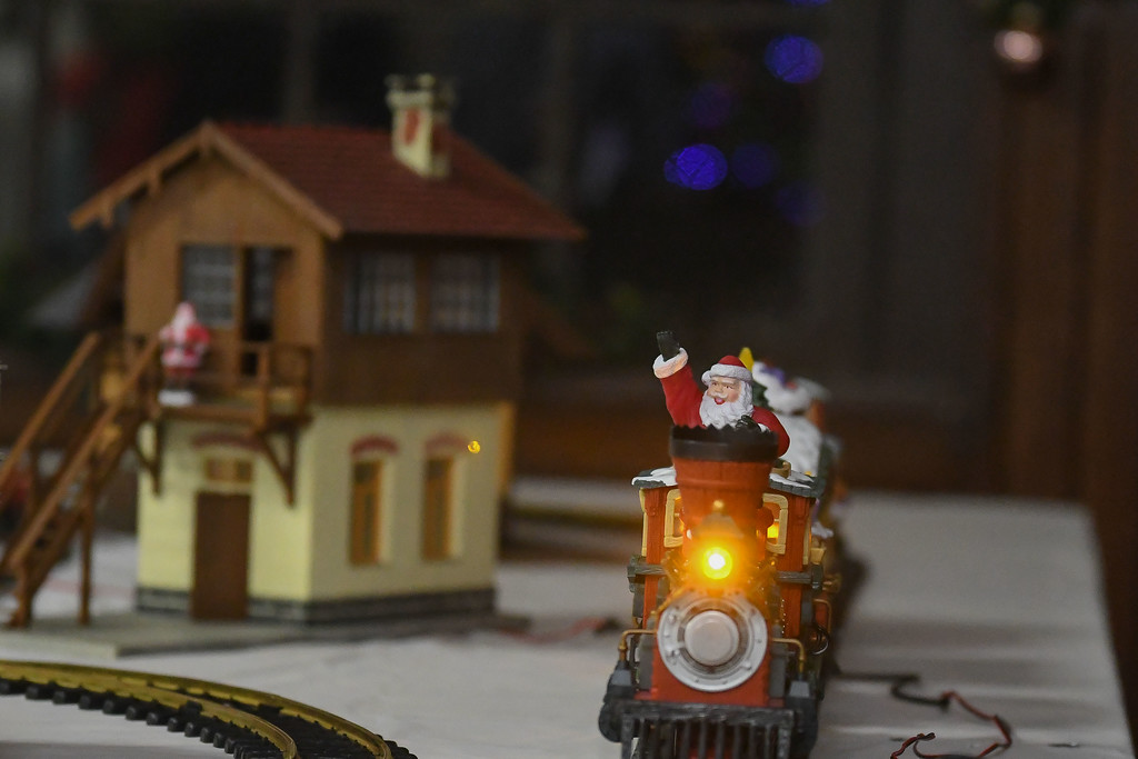 . Eric Bonzar�The Morning Journal<br> Rich Papay, of Amherst, brought his holiday-themed train set for guests to enjoy during Main Street Amherst\'s Lolly the Trolley event, Dec. 13, 2017.