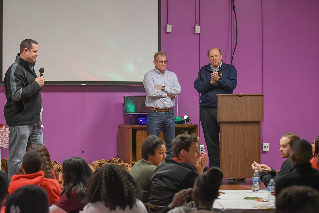 . Eric Bonzar�The Morning Journal During their appreciation luncheon, the Lorain County Boys and Girls Clubs staff recognized Executive Director Mike Conibear for his 30 years of service with the organization, Dec. 22, 2016.