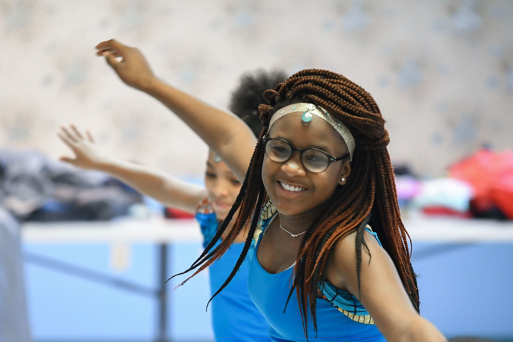. Eric Bonzar�The Morning Journal<br> Twelve-year-old Natoshya Johnson, member of the African Royalty Dancers, performs during Second Baptist Church\'s Kwanzaa celebration, in Lorain, Dec. 26, 2017.