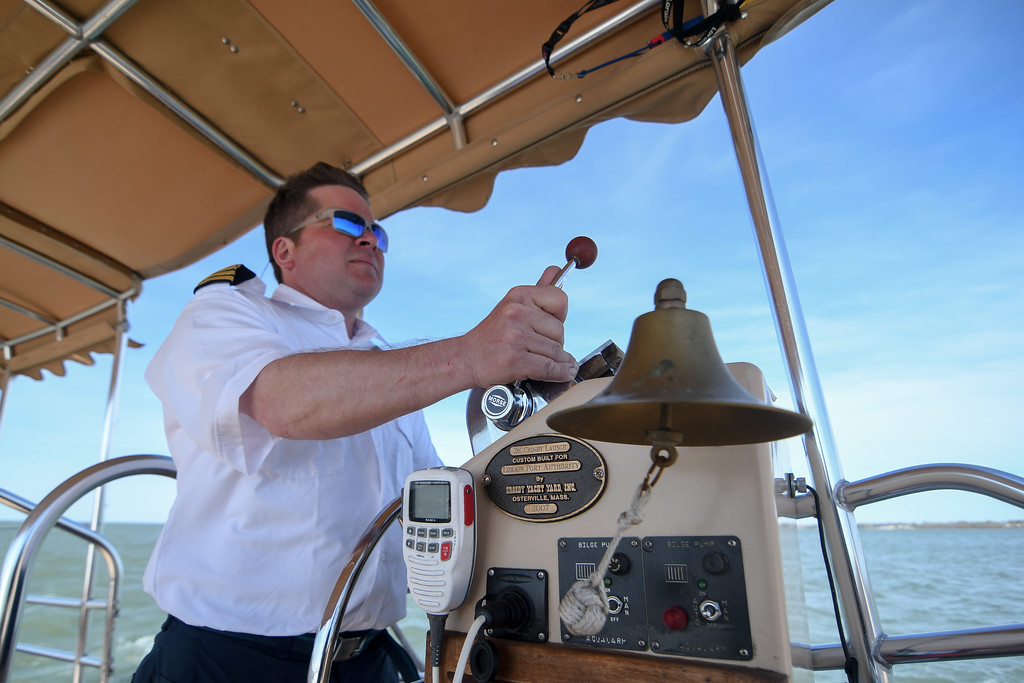 ". Eric Bonzar�The Morning Journal Captain Corey Wisniewski pilots the ""Pride of Lorain\"" back to Beaver Park North Marina, April 26, 2017."